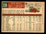 1959 Topps #228  Don Gross  Back Thumbnail