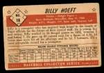 1953 Bowman B&W #18  Billy Hoeft  Back Thumbnail