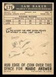 1959 Topps #175  Sam Baker  Back Thumbnail