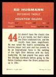 1963 Fleer #44  Ed Husmann  Back Thumbnail