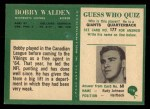 1966 Philadelphia #116  Bobby Walden  Back Thumbnail