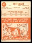 1963 Topps #92  Ron Kramer  Back Thumbnail