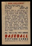 1951 Bowman #105  Don Kolloway  Back Thumbnail