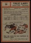 1962 Topps #56  Yale Lary  Back Thumbnail