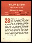 1963 Fleer #28  Billy Shaw  Back Thumbnail