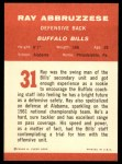 1963 Fleer #31  Ray Abruzzese  Back Thumbnail