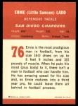 1963 Fleer #76  Ernie Ladd  Back Thumbnail