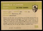 1961 Fleer #156  Charlie Flowers  Back Thumbnail