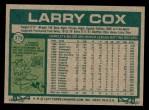 1977 Topps #379  Larry Cox  Back Thumbnail