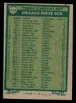1977 Topps #418   -  Bob Lemon White Sox Team Checklist Back Thumbnail