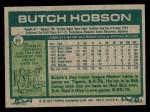 1977 Topps #89  Butch Hobson  Back Thumbnail