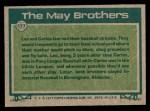 1977 Topps #633   -  Lee May / Carlos May Big League Brothers Back Thumbnail