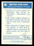 1977 Topps Cloth #17  Wayne Garland  Back Thumbnail