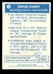 1977 Topps Cloth #12  Dave Cash  Back Thumbnail