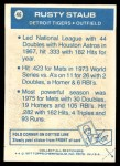 1977 Topps Cloth #46  Rusty Staub  Back Thumbnail