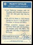 1977 Topps Cloth #46  Rusty Staub  Back Thumbnail
