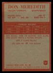 1965 Philadelphia #50  Don Meredith   Back Thumbnail