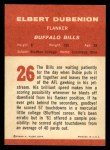 1963 Fleer #26  Elbert Dubenion  Back Thumbnail