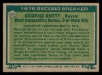 1977 Topps #231   -  George Brett Record Breaker Back Thumbnail