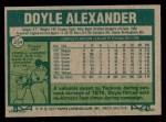 1977 Topps #254  Doyle Alexander  Back Thumbnail