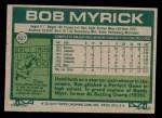 1977 Topps #627  Bob Myrick  Back Thumbnail