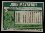 1977 Topps #244  John Mayberry  Back Thumbnail