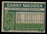 1977 Topps #520  Garry Maddox  Back Thumbnail