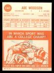 1963 Topps #141  Abe Woodson  Back Thumbnail