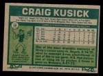 1977 Topps #38  Craig Kusick  Back Thumbnail