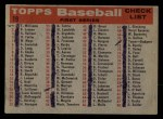 1958 Topps #19   Giants Team Checklist Back Thumbnail