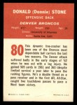 1963 Fleer #80  Don Donnie Stone  Back Thumbnail