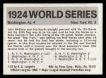 #  22  1924 Senators/Giants  (Walter Johnson) - 1971 Fleer World Back Thumbnail