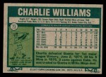 1977 Topps #73  Charlie Williams  Back Thumbnail