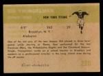 1961 Fleer #220  Sid Youngelman  Back Thumbnail
