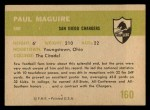 1961 Fleer #160  Paul Maguire  Back Thumbnail