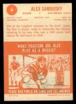 1963 Topps #6  Alex Sandusky  Back Thumbnail