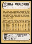 1968 Topps #337  Bill Robinson  Back Thumbnail