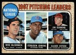 1968 Topps #9   -  Jim Bunning / Ferguson Jenkins / Mike McCormick / Claude Osteen NL Pitching Leaders Front Thumbnail