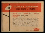 1960 Fleer #123  Curley Johnson  Back Thumbnail