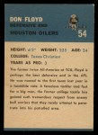1962 Fleer #54  Don Floyd  Back Thumbnail