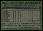 1982 Topps #64  Lynn Jones  Back Thumbnail