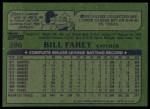 1982 Topps #286  Bill Fahey  Back Thumbnail