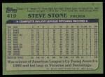1982 Topps #419  Steve Stone  Back Thumbnail