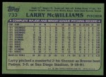 1982 Topps #733  Larry McWilliams  Back Thumbnail