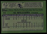 1982 Topps #69  Al Williams  Back Thumbnail
