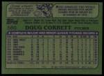 1982 Topps #560  Doug Corbett  Back Thumbnail