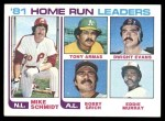 1982 Topps #162   -  Mike Schmidt / Tony Armas / Dwight Evans / Bobby Grich / Eddie Murray HR Leaders   Front Thumbnail