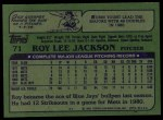 1982 Topps #71  Roy Lee Jackson  Back Thumbnail
