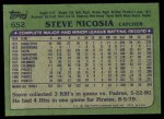 1982 Topps #652  Steve Nicosia  Back Thumbnail
