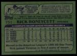 1982 Topps #751  Rick Honeycutt  Back Thumbnail